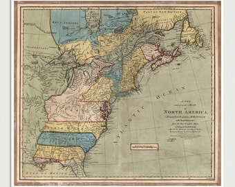 Old Colonial America Map Art Print 1771 Antique Map Archival Reproduction