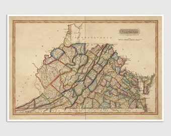 Old Virginia and West Virginia Map Art Print 1817 - Antique Map Archival Reproduction