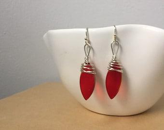 Red Glass Tear Drop Silver Wrapped Earrings