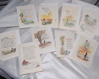 Vintage, cards, greetings, 15 mixed, all occasion, mini-quotes, 1976
