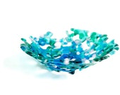 Lacy Fused Glass Bowl in Blues, Green & Pink FB529