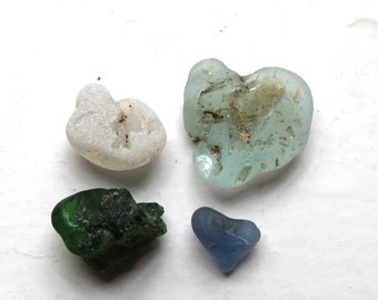 bonfire sea glass, Scottish beach glass aqua, turquoise white heart shaped green seaglass