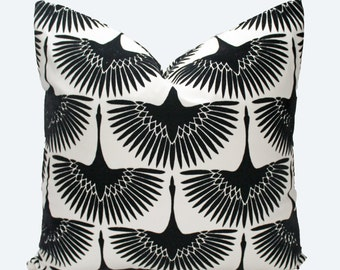 Decorative Designer, Flocked, Black and White Bird, Pillow Cover,  18x18, 20x20, 22x22, or Lumbar Throw Pillow