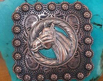 Horse Head Square Concho
