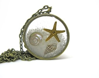 At the Beach Necklace - Starfish and Shells encased in resin with open back bezel - Ocean Necklace - Sea Life Pendant, Starfish Jewelry