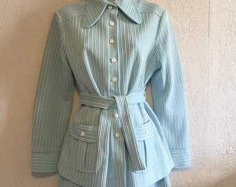 Sweet Baby Blue Striped Skirt Outfit by Campus Casuals