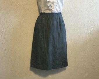Blue & White Striped Vintage Straight Skirt ~ S