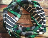 SHIPS TODAY Double Loop Infinity Scarf With a Twist in Gray Ruffle and Plaid Flannel