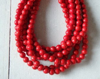 "8mm Red howlite beads - 16"" strand of 8mm howlite beads, 8mm howlite beads, round howlite beads, 8mm red beads, approx. 56 beads per strand"