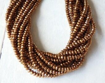Copper tone hematite beads - one strand, 4x2mm sparkling faceted copper hematite beads, faceted hematite beads, copper faceted rondelles