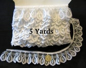 Ruffled Lace Trim White Silver 5 Yards
