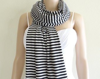 Black And White Striped Scarf. Wrap Scarf. Soft Cotton Long Scarf.