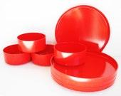 Vintage Heller Design by Massimo Vignelli Red Plastic Plates and Bowls