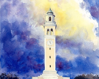 LSU Memorial Tower Watercolor Louisiana State University Tigers Yellow Violet Original Painting College Art Baton Rouge LA Art LSU art