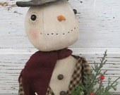 Primitive Winter Christmas Folk Art~ Olde Fashion Snowman Fella Doll~HAFAIR