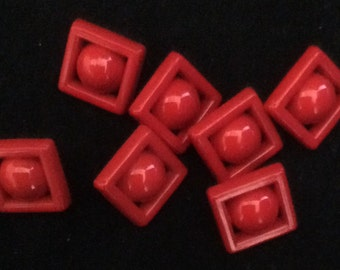 Vintage Red Buttons-Set of 7