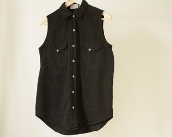 striped 90s collared oxford chambray TANK top denim shirt