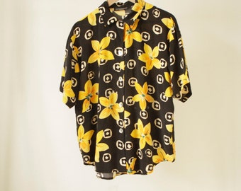 vintage 90s SUNFLOWER black and yellow SURF grunge blouse button up shirt