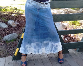 Denim maxi skirt | Etsy