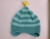 Aqua striped baby earflap hat | hand knit winter hat | baby 6 months - boy or girl