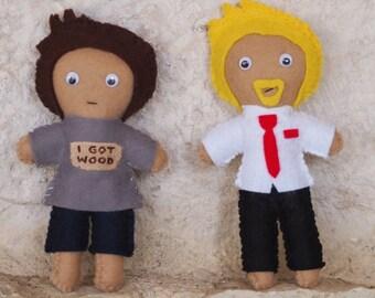 Shaun of the Dead Inspired Felt Plush Figures set of two - Shaun & Ed