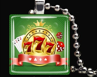 15% OFF AUGUST SALE : Lucky Sevens Casino Charm Lucky 7's Good Luck Charm Glass Tile Pendant Necklace Keyring