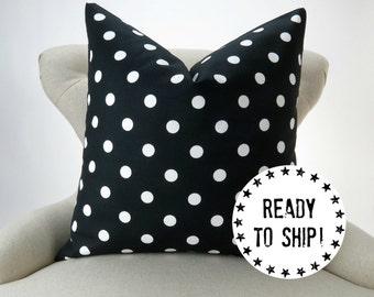 Ready to ship! Black and White Polka Dot Pillow Cover, decorative throw euro sham cushion premier prints, for 28x28 pillow