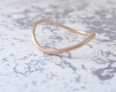 18ct Gold Wedding Ring - Rocking Wishbone - 1.2mm - Slim Wishbone Ring - 18ct Rose Gold