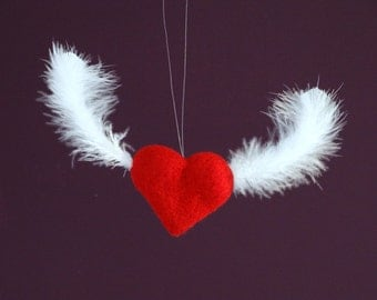 Red Flying Heart Valentine Ornament Charm