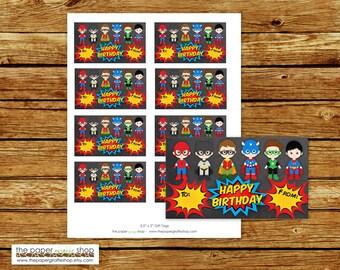 Superhero Gift Tags | Superhero Party | Superhero Birthday Party | Superhero Birthday Party Favor Tags | Instant Download | Gift Tags