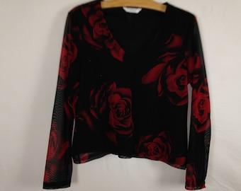 rose pattern top size M
