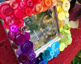 handmade mosaic mirror, vintage button art, Hand dyed buttons,  rainbow mosaic, ombre, rainbow, upcycle