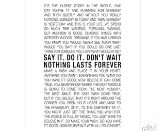 One Tree Hill Quote Printable / Inspirational Quotes / Nothing Lasts Forever / Nathan Scott / Graduation / White // 8x10 and 11x14