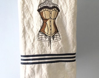 Embroidered Bathroom Hand Towel Victoria  Steampunk Dress Form with Corset, Black Stripes on White Towel