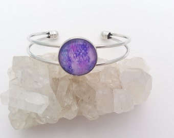Bracelet Purple Bangle small 18mm cabochon