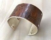 Wide Etched Copper Sterling Cuff Bracelet Ready to Ship by ShesSoWitte