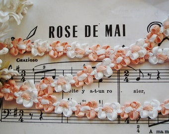 1y Vintage French Peach White Satin Rococo Rosette Flower Ribbon Hat Doll Trim Supply Scrapbook Paper Crafting Embellishment France