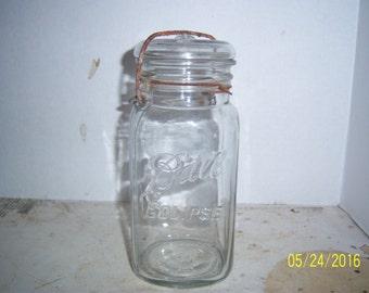 "1926-29 Ball Eclipse Pat 7-14-08 Clear square Quart  Fruit Canning jar 8"" Wedding  Shower display centerpiece"