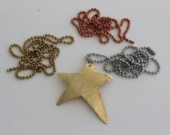 Brass Star Necklace Lg
