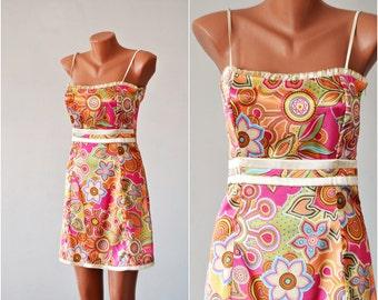 Vintage SATIN Dress, size S-M /36-38/