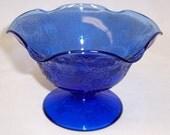 Hazel Atlas Cobalt Blue FLORENTINE Number 2 POPPY Number 2 Ruffled COMPORT