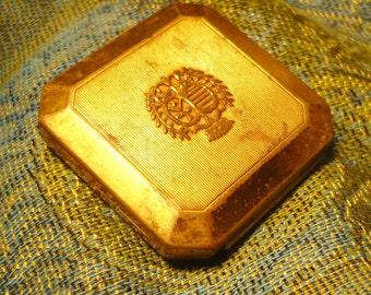 Vintage-Brass Richard Hudnut Brass Compact for DuBarry