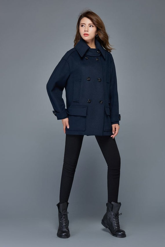 Short coat wool coat navy blue coat winter jacket women
