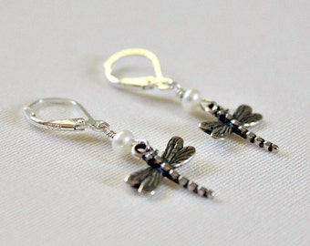 Pearl Sterling Silver Dragonfly Earrings,High School Graduation Gift for Girl,18th Birthday for Her,Unique,College Graduation Gift For Her