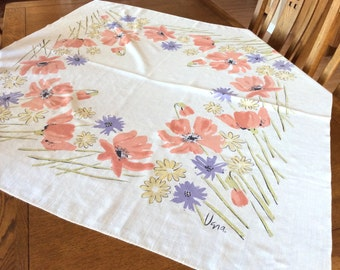 Vintage Vera Neumann Tablecloth, Designer Tablecloth, Spring Flowers  Tablecloth, Excellent Condition, 1970s