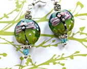 Dragonfly Lamp Work Earrings with Silver Beads