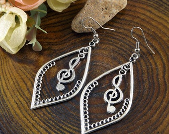 Ethnic Tribal Hmong Miao Silver Notes Filigree Flower Drop Dangle Earrings