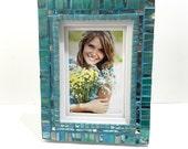 Aquamarine Picture Frame, Wedding Gift, Mosaic Art Photo Frame, Aqua Home Decor, New Home Gift, Decorative Frame, March Birthday Gift