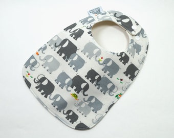 Organic baby bib, Elephant baby, Elephant, Grey, Organic cotton, organic fleece, Gender neutral baby, fits 3 months to 2 years plus