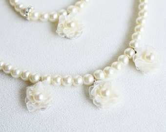 FLOWERGIRL JEWELRY SET / ivory or white glass pearl organza flower necklace bracelet wedding bridal bridesmaids mother daughter matching